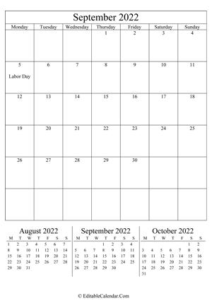 Editable Calendar September 2022