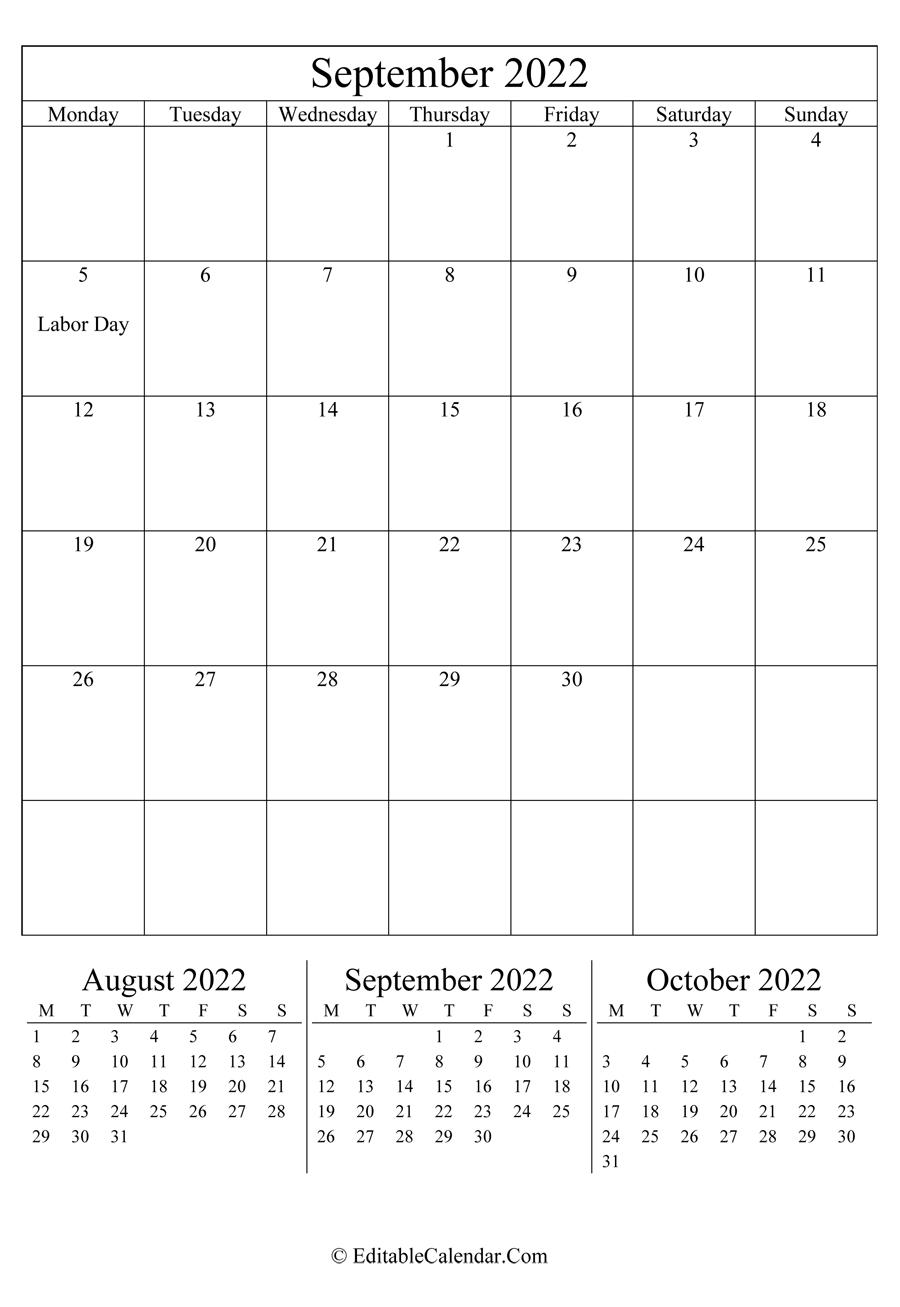 September 2022 Calendar Templates