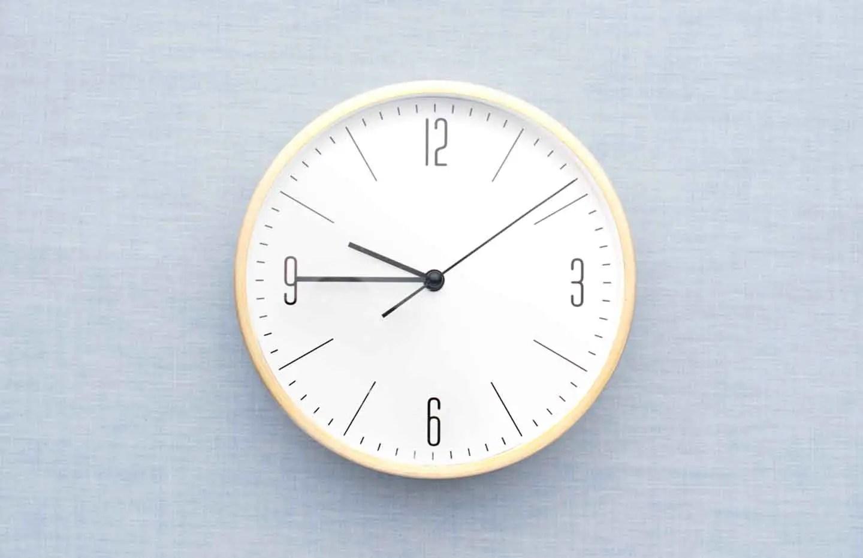 Clock on wall timing productivity