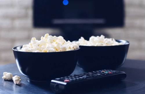 popcorn and tv remote