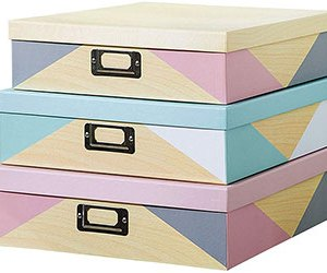 Decorative Storage Cardboard Boxes with Metal Plate (Set of 3, Nordic Triangles)