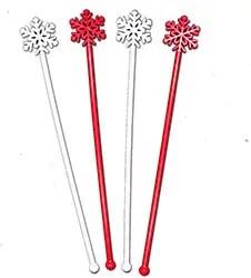 Red & White Snowflake Christmas Party Stir Swizzle Cocktail Bar Sticks