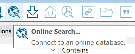 Screenshot of EndNote, showing the Online Search function on the toolbar