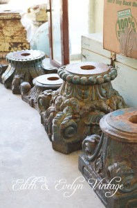 Gorgeous vintage carved wood capitals!