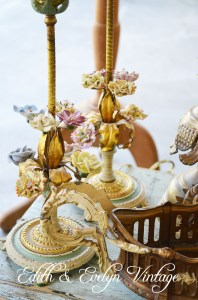Beautiful French lamps with porcelain flowers.