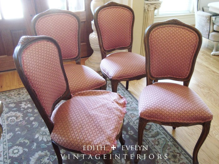 French Grain Sack Dining Chairs | Edith & Evelyn | www.edithandevelynvintage.com