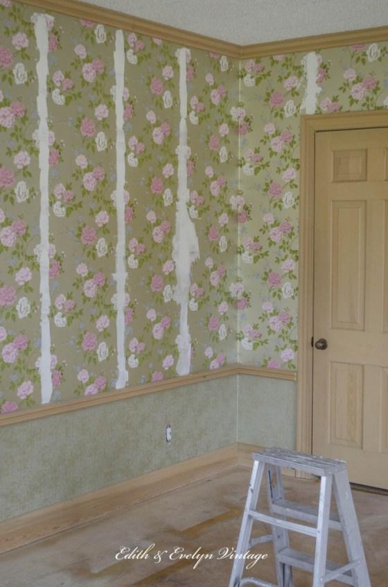 Painting wallpaper prep.