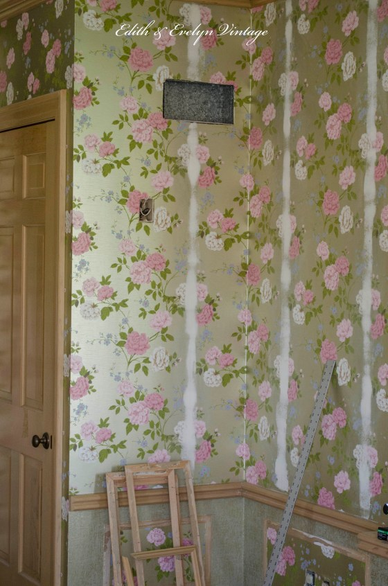 Covering the wallpaper seams with joint compound.