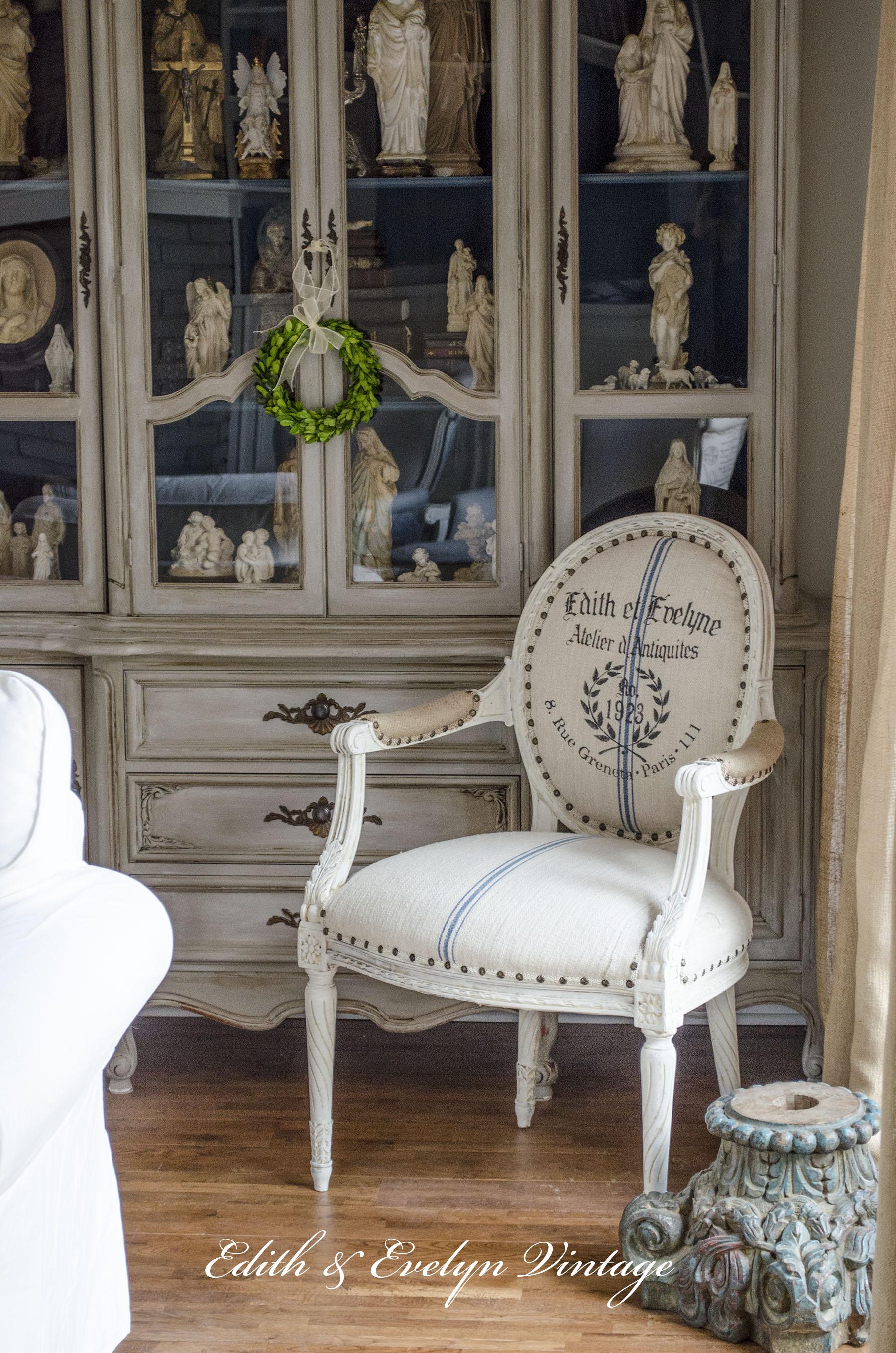 a french chair a grain sack and a stencil