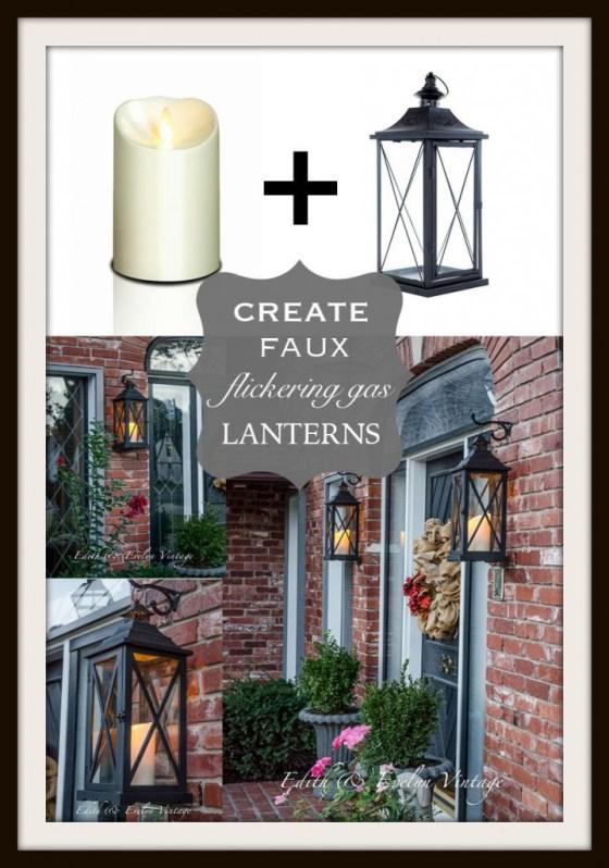 Faux Flickering Gas Lanterns | Edith & Evelyn Vintage | www.edithandevelynvintage.com