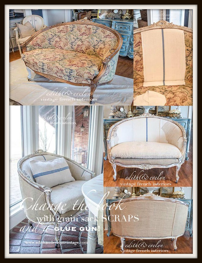 A French Settee and Grain Sack Scraps | Edith & Evelyn Vintage | www.edithandevelynvintage.com