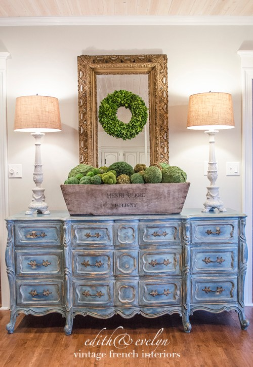 A Blue French Provincial Dresser | Edith & Evelyn Vintage | www.edithandevelynvintage.com