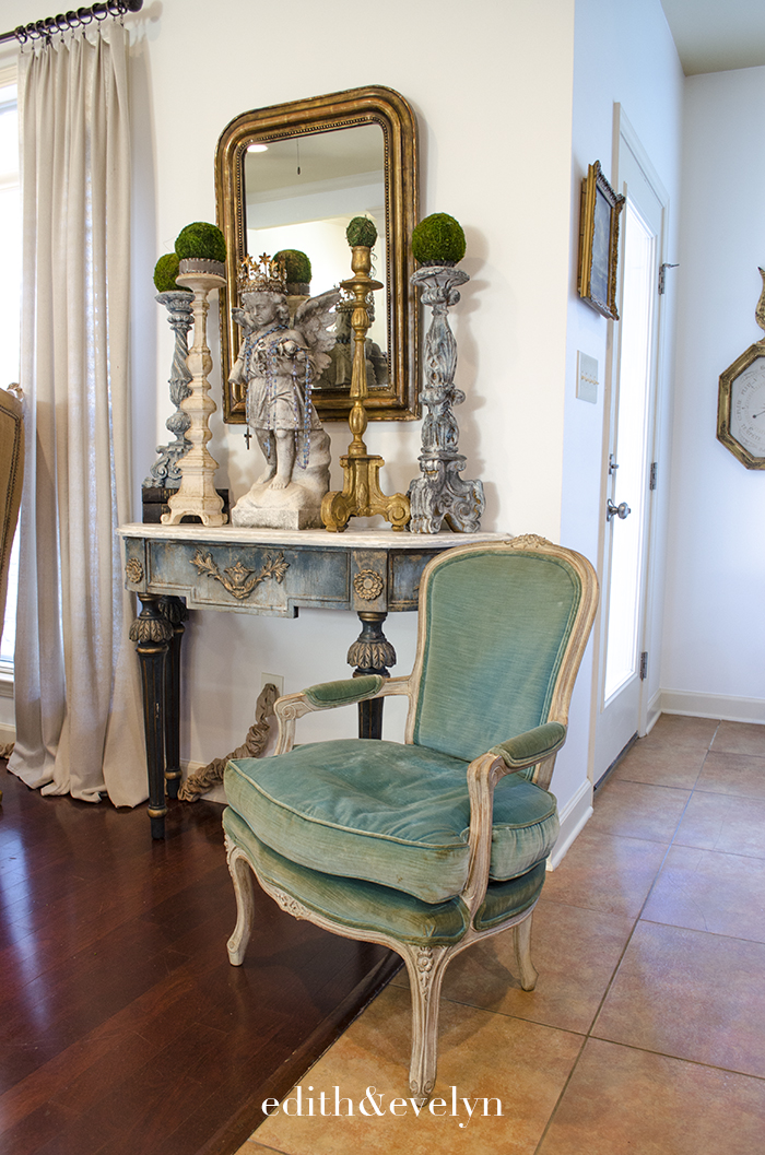 A Turquoise Velvet French Chair | Edith & Evelyn | www.edithandevelynvintage.com