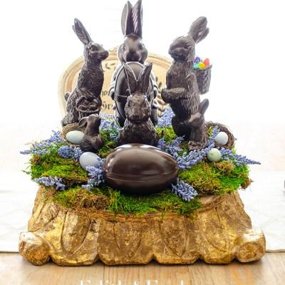 Faux Chocolate Bunny Centerpiece | Edith & Evelyn | www.edithandevelynvintage.com