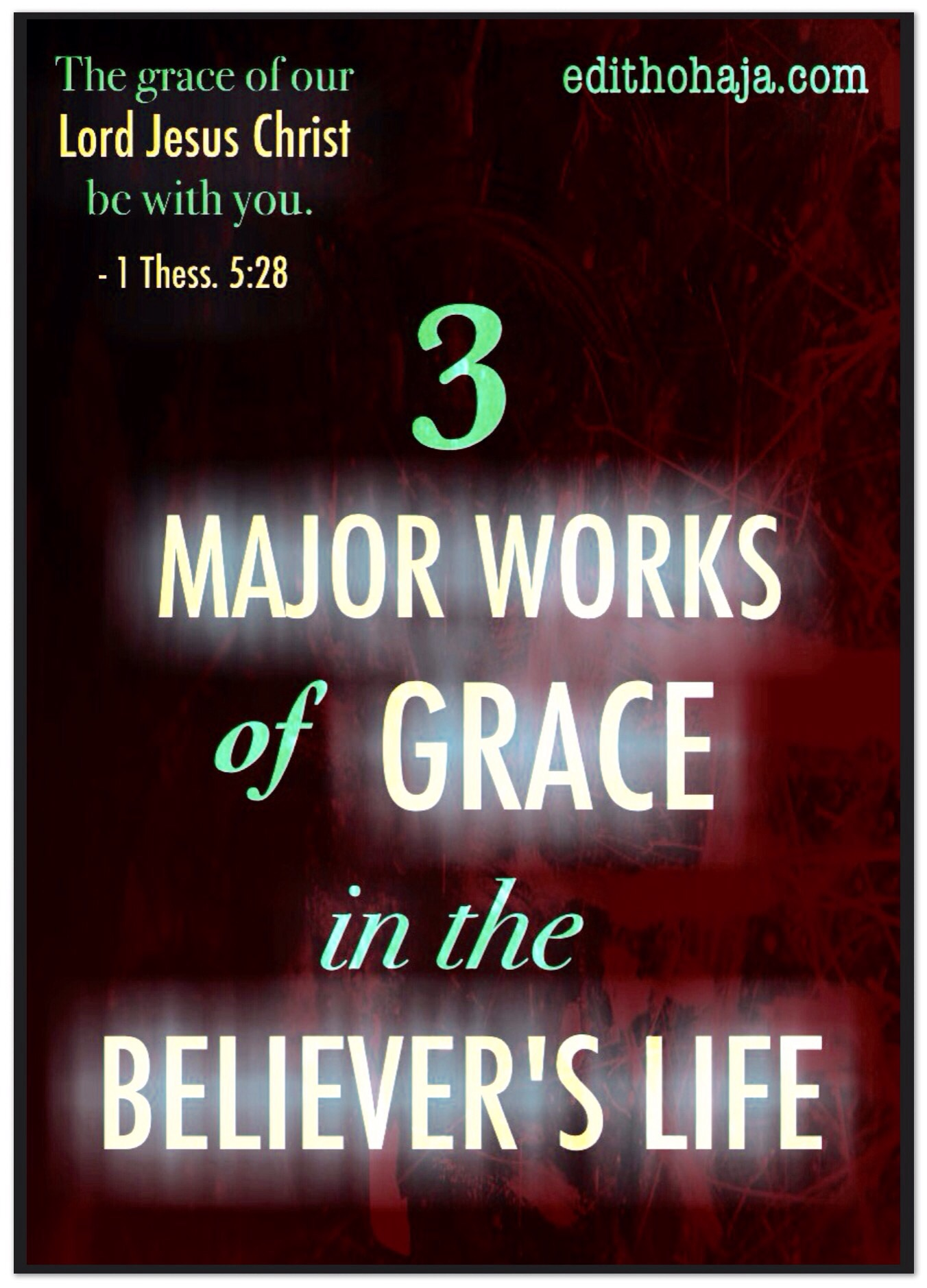 3 MAJOR WORKS OF GRACE IN THE BELIEVER'S LIFE