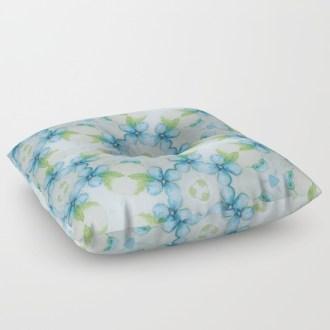 blue-flower-patter-floor-pillows