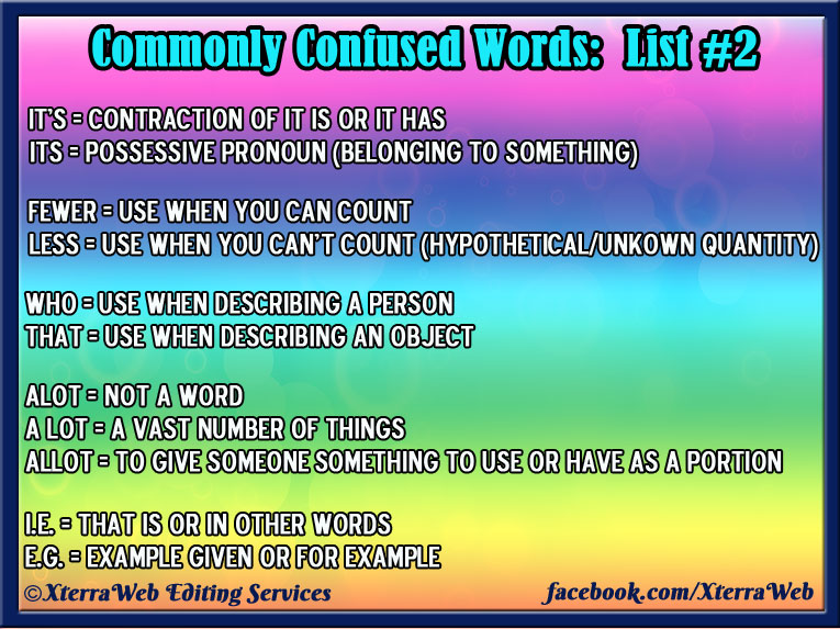 XterraWeb's Commonly Confused Words List 2