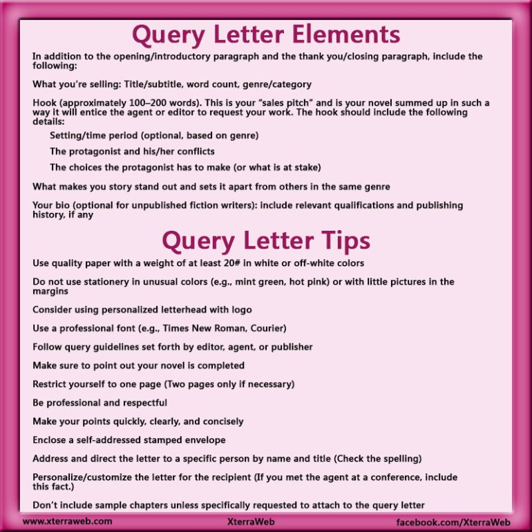 Query letter. Elements of a query letter. Query letter tips. How to write a query letter.