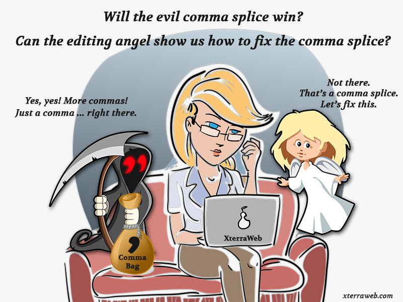 Comma Splice Comic. What is a comma splice. How to fix a comma splice.