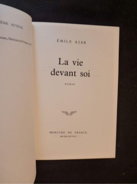 Emile Ajar La Vie Devant Soi : emile, devant, Devant, First, Edition, Edition-Originale.com