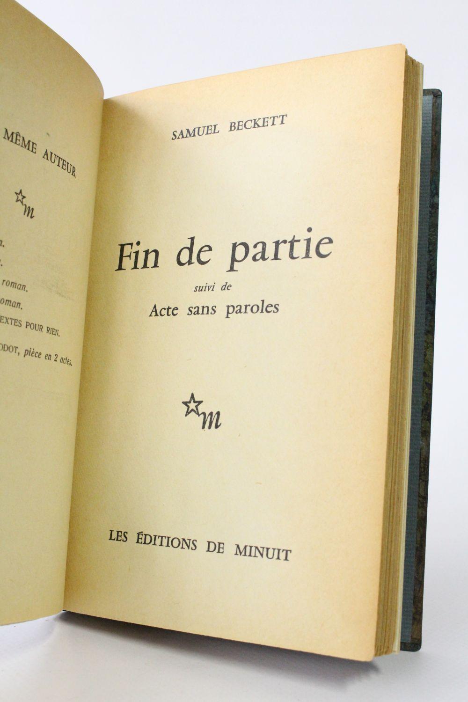 Samuel Beckett Fin De Partie : samuel, beckett, partie, BECKETT, Partie, Suivi, Paroles, Signed, Book,, First, Edition, Edition-Originale.com