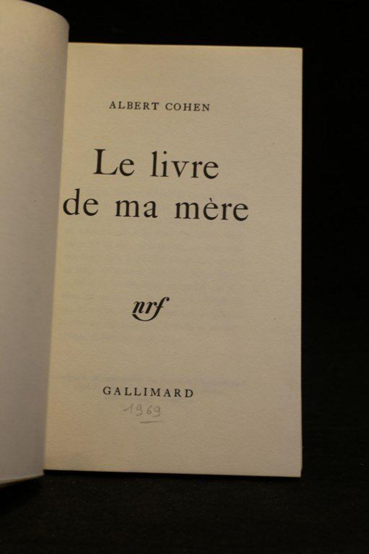 Albert Cohen Le Livre De Ma Mère : albert, cohen, livre, mère, COHEN, Livre, Mère, Signed, Book,, First, Edition, Edition-Originale.com