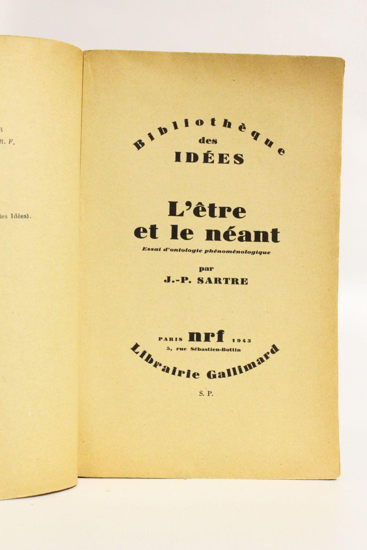 L'être Et Le Néant Sartre : l'être, néant, sartre, SARTRE, L'être, Néant., Essai, D'ontologie, Phénoménologique, First, Edition, Edition-Originale.com