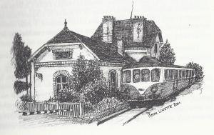 dessin de la gare d'Attigny par Pierre Linette