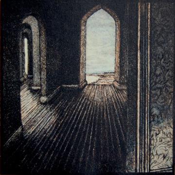 """Andrea Knarr """"Passage"""" etching & aquatint 5x5 inches"""