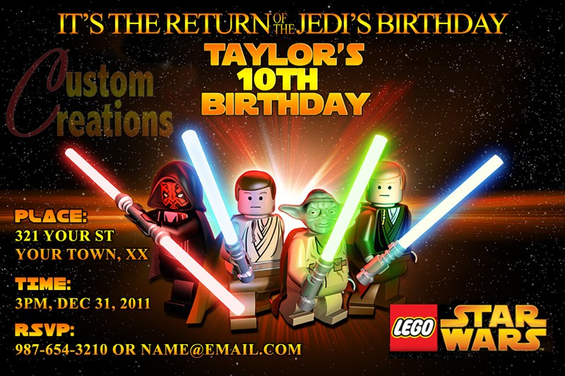 Lego Star Wars Printable Birthday Party Invitation EditMyPic