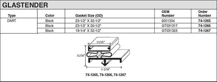 Glastender Gasket Parts