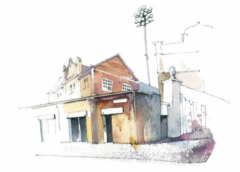 """Mit Pastelltönen und vielen Texturen erarbeitete Illustratorin Jenny Adam diese Illustration für das Mitgliedermagazin """"sn"""" des Hamburger SV (HSV). Es zeigt ein typisches Haus in einem Arbeiterviertel und deutet dahinter durch einen Flutlichtmast die Nähe zum Stadion an. So illustriert die Illustratorin das Thema und kann einen stärkeren Fokus setzen, als es eine Fotografie könnte."""
