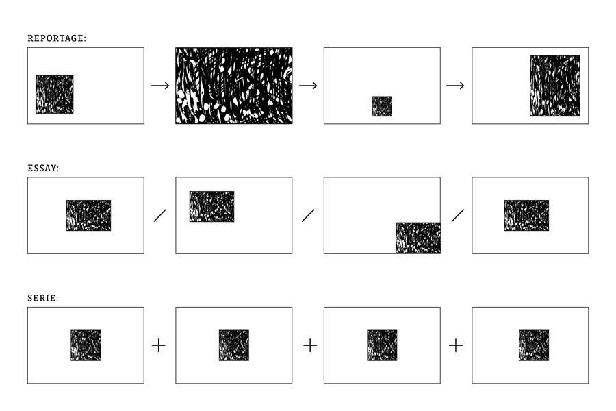 Illustration und Definition von Fotoreportage, Essay und Serie im Fotojournalismus.