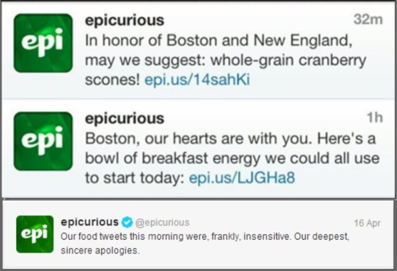 Epicurious Newsjacking fail example