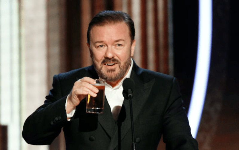 n this handout photo provided by NBCUniversal Media, LLC, host Ricky Gervais speaks onstage during the 77th Annual Golden Globe Awards at The Beverly Hilton Hotel on January 5, 2020 in Beverly Hills, California.