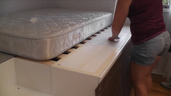 ikea kitchen cabinets tall chairs man transforms into bed with space ...