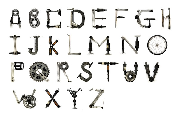 Typographic Project Uses Bicycle Parts To Create An