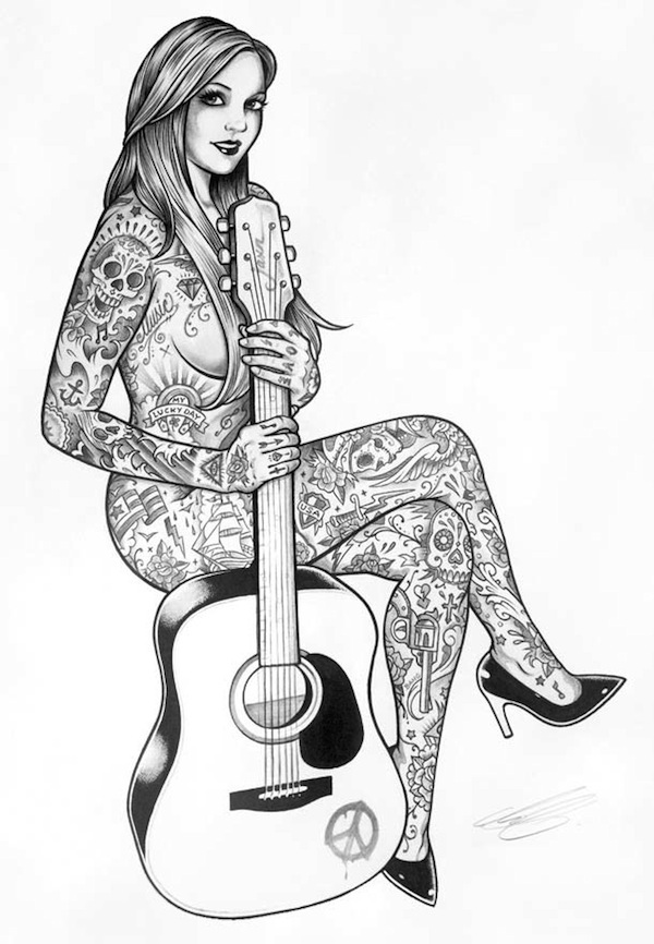 Lovely Illustrations Of Sexy Ladies Covered In Tattoos