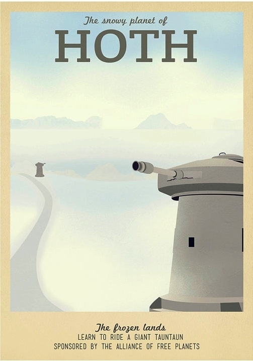 Retro Travel Posters Inspired By Locations In Game Of Thrones Star Wars LOTR  DesignTAXIcom