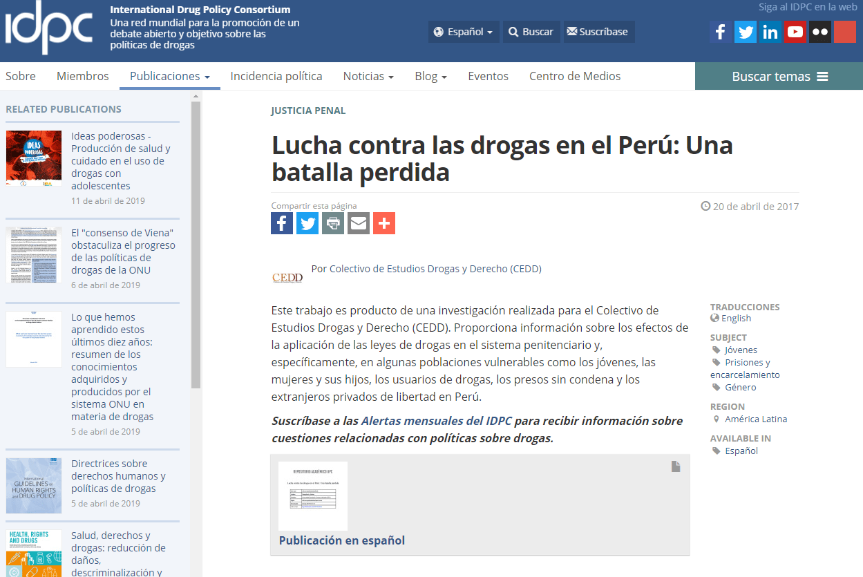 Lucha contra las drogas en el Perú: Una batalla perdida