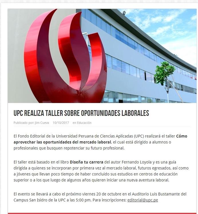UPC realiza Taller sobre oportunidades laborales