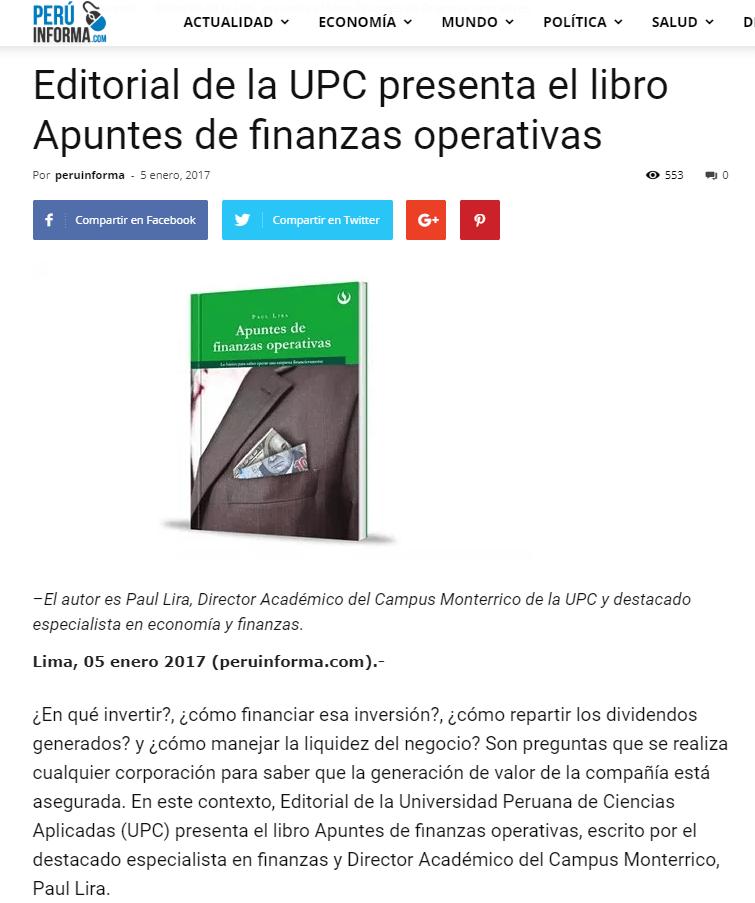 Editorial de la UPC presenta el libro Apuntes de finanzas operativas