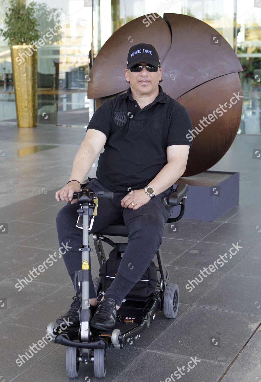 wheelchair emirates revolving chair quikr rene douglas panamanian paralyzed jockey editorial mideast dubai world cup returns horse racing united arab