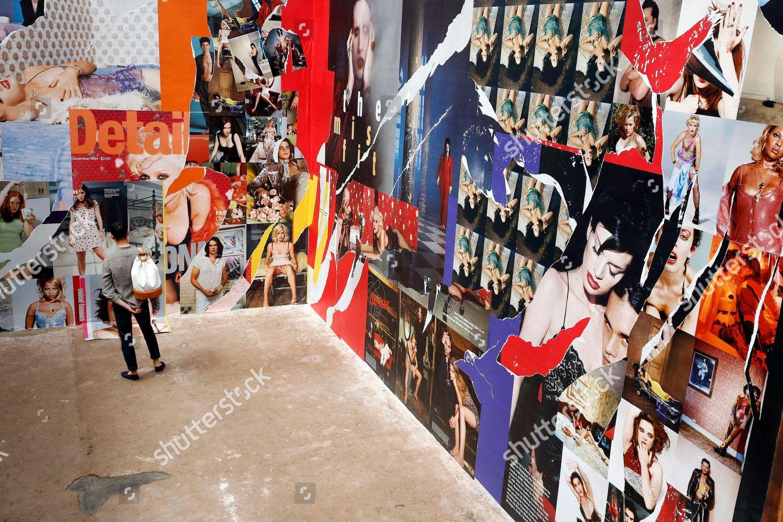 Man Visits Exhibition Bettina Bill La 9497 Editorial Stock