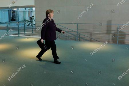 German Chancellor Angela Merkel Coronavirus press conference Stock ...