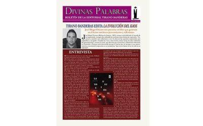 """Entrevista a José Diego Chicano en Divinas Palabras por la publicación de su libro """"La evolución del Kaos"""""""