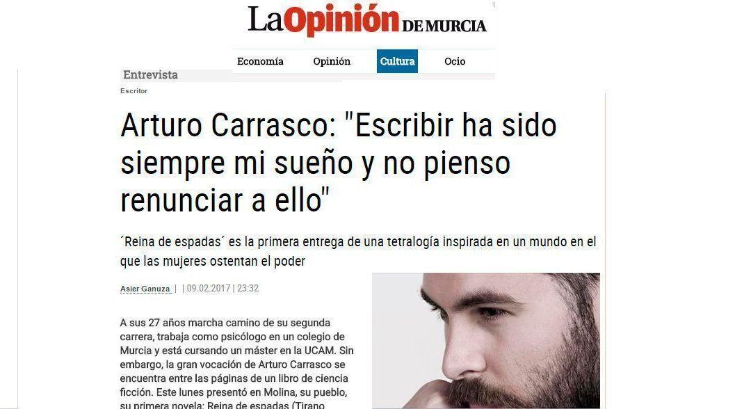 Interesante entrevista a Arturo J. Carrasco en La Opinión de Murcia