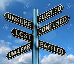 Signposts showing confusion and a blue sky