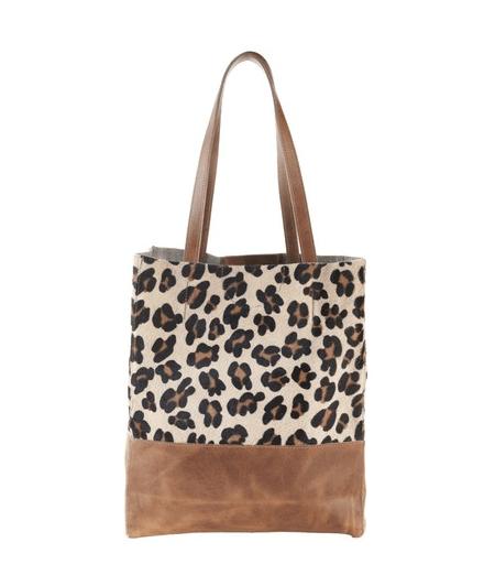 brave leather leopard tote bag