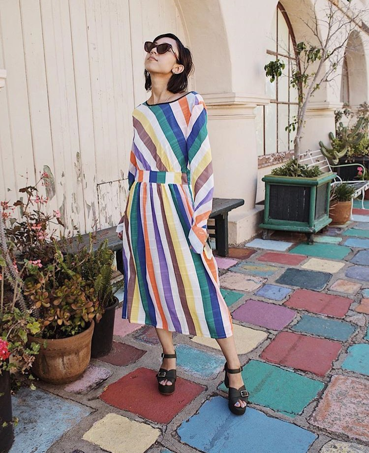 Stephanie Arant rainbow stripe dress edit seven 2018